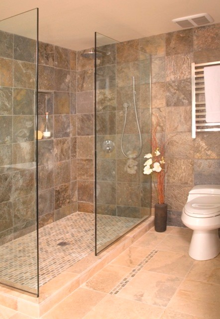 Open shower without door asian bathroom seattle by Opening glass walls
