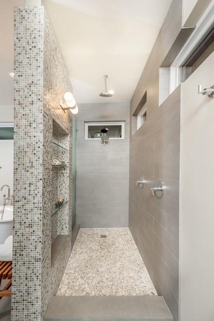 Open Walk In Shower Transitional Bathroom