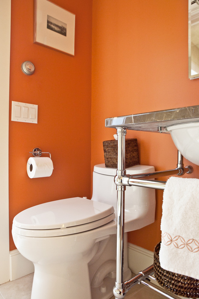 Orange Powder Room - Traditional - Bathroom - New York ...