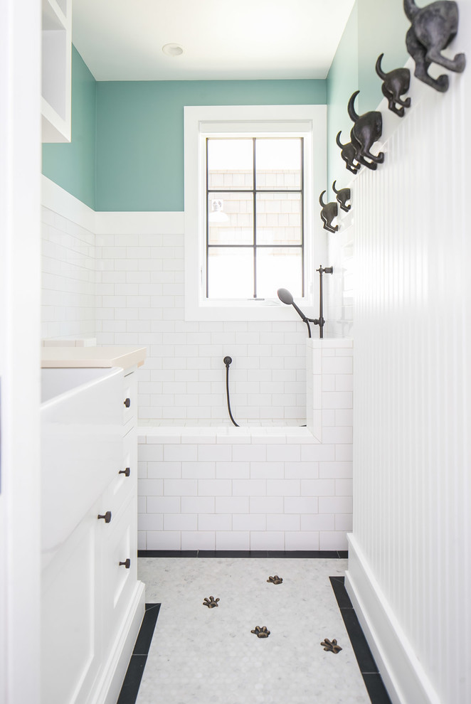 Mid-sized island style kids' white tile and subway tile gray floor bathroom photo in Orange County with shaker cabinets, white cabinets and green walls