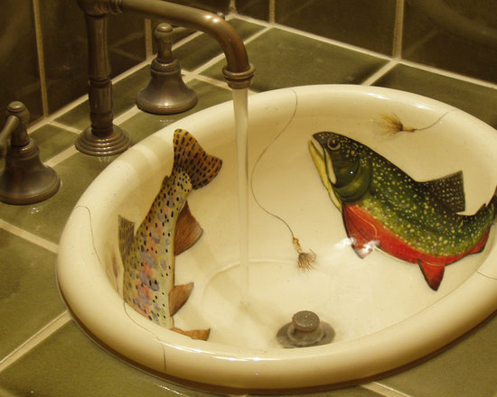 Marzi Sinks at Home - H-48-600 Oregon Trout, from Marzi's self rimmming oval collection. Here Marzi has handpainted trout and flies specific to the clients area.