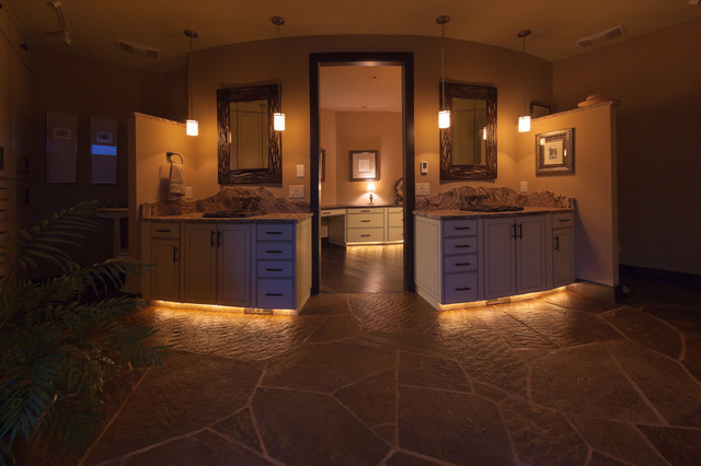 Organic contemporary master bath rustic bathroom for Pictures of master bathrooms in new homes