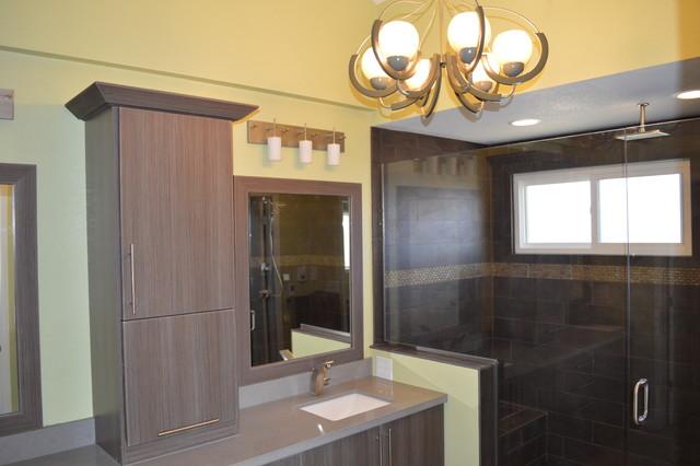 Organic contemporary master bathroom remodel in arvada for Bathroom designs for 7x4
