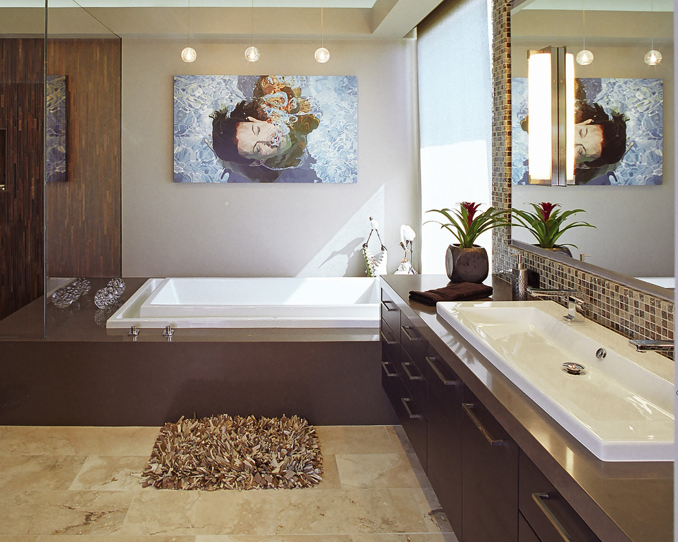 Bathroom - contemporary bathroom idea in Los Angeles with a trough sink and brown countertops