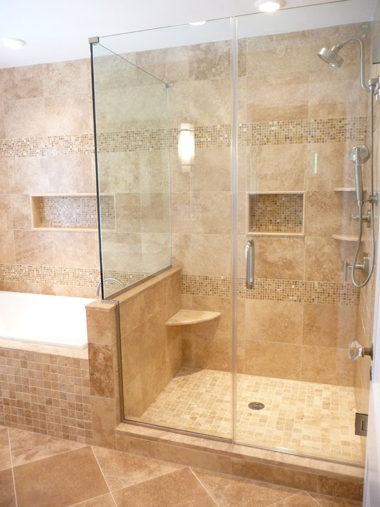 Travertine shower home design ideas pictures remodel and for Travertine tile bathroom gallery