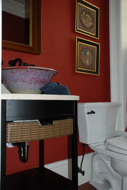 Oriental flair powder room modern bathroom for Paint colors for powder rooms