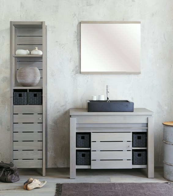 Origin silver gray solid oak bathroom vanity accessories for Grey silver bathroom accessories