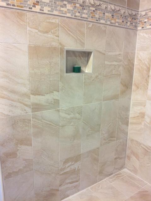 Origin Tile Series with Wedi niche and New Wedi Riofino  Drain contemporary-bathroom