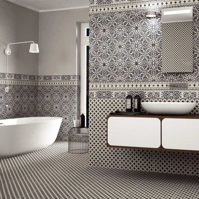 Orly Black And White Patterned Tiles Direct Tile Warehouse Victorian Bathroom
