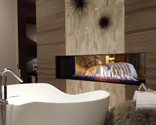 Fireplace in Modern Bathroom Renovation in Portland Oregon