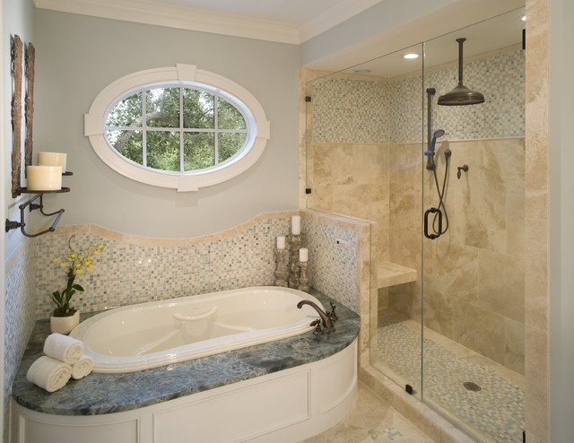 Oval Window Highlights Master Bath Traditional