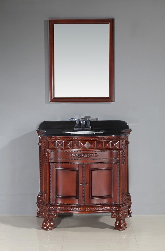 OVE Decors Buckingham Dark Cherry Vanity With Black ...