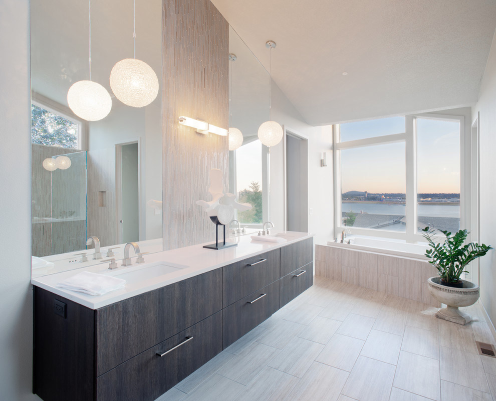 Inspiration for a contemporary matchstick tile and white tile bathroom remodel in Portland with an undermount sink
