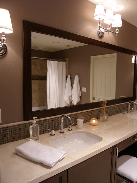 Oversized Custom Mirror and Wall Mount Sconces traditional-bathroom