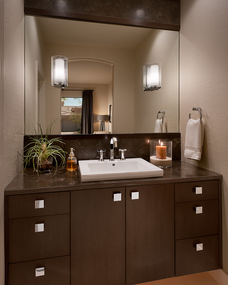 Inspiration for a contemporary bathroom remodel in Phoenix with a drop-in sink
