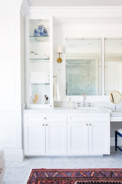 Inspiration for a large transitional master bathroom remodel in Los Angeles with marble countertops, white walls, recessed-panel cabinets, white cabinets and white countertops