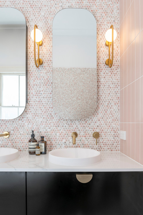 pink penny tile in bathroom