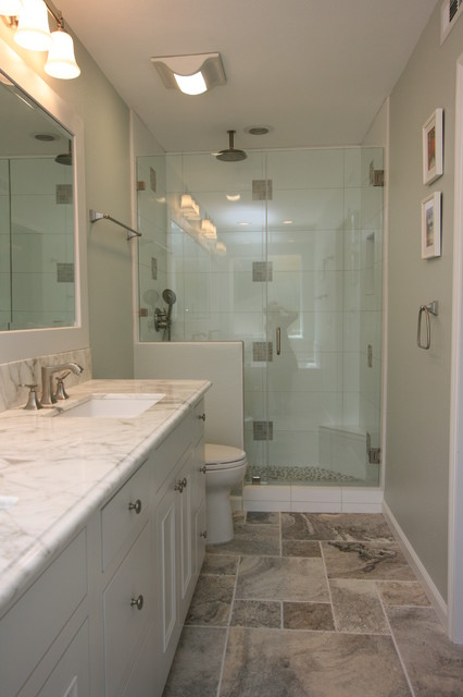 Painted White Marble Traditional Bathroom in Garden Grove, CA traditional-bathroom