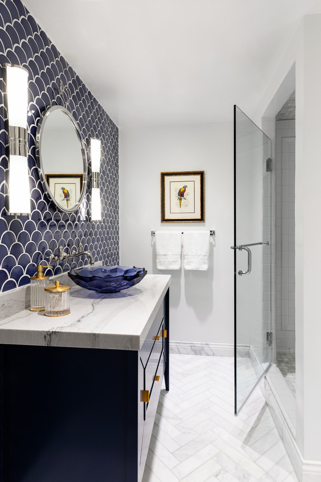 Inspiration for a small contemporary 3/4 white tile and ceramic tile marble floor and gray floor alcove shower remodel in San Diego with open cabinets, blue cabinets, an integrated sink, marble countertops, a hinged shower door, white countertops and white walls
