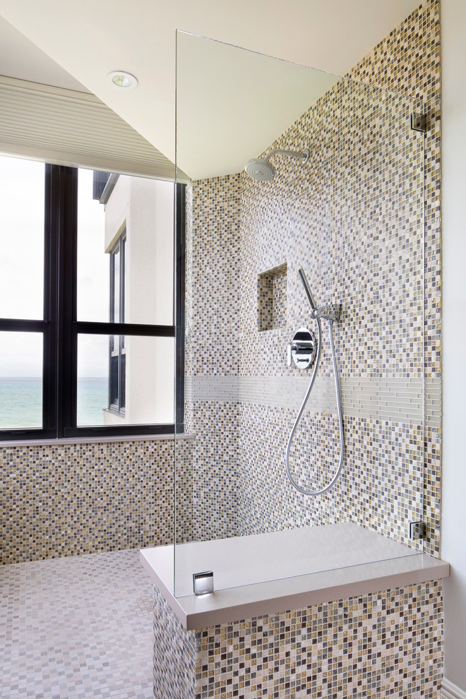 Inspiration for a mid-sized contemporary multicolored tile and mosaic tile mosaic tile floor bathroom remodel in Miami with multicolored walls