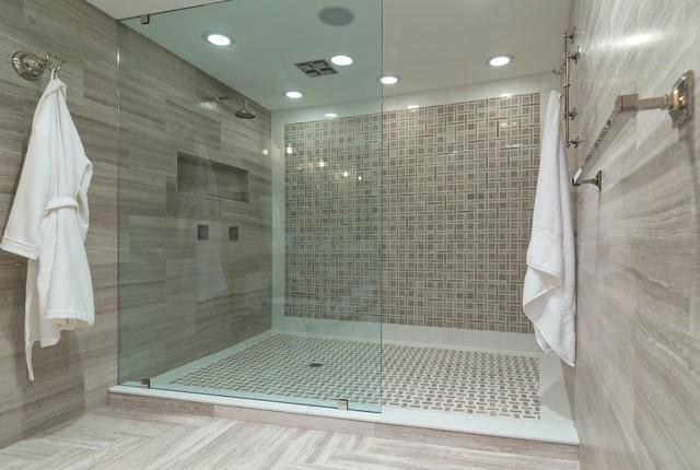 Inspiration for a large transitional master brown tile and porcelain tile porcelain floor and brown floor alcove shower remodel in Boston