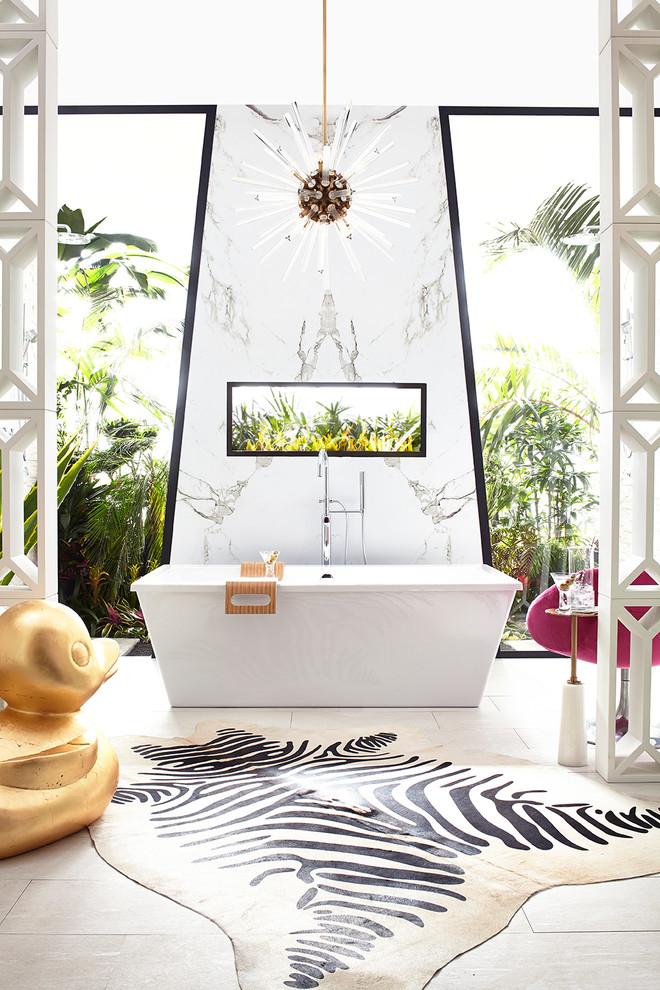 Inspiration for a large contemporary master porcelain tile freestanding bathtub remodel in Dallas