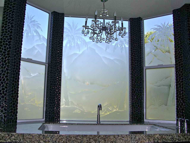 Palm Tree Desert Landscape Bathroom Windows Frosted