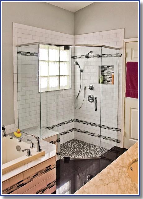 Palmetto Bay frameless shower door installation traditional-bathroom