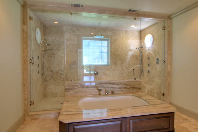 Paneled Tub W Walk Through Double Shower Bathroom