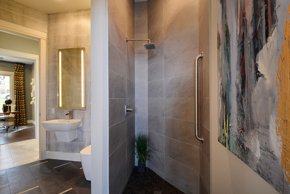 Inspiration for a contemporary bathroom remodel in Austin with a wall-mount sink