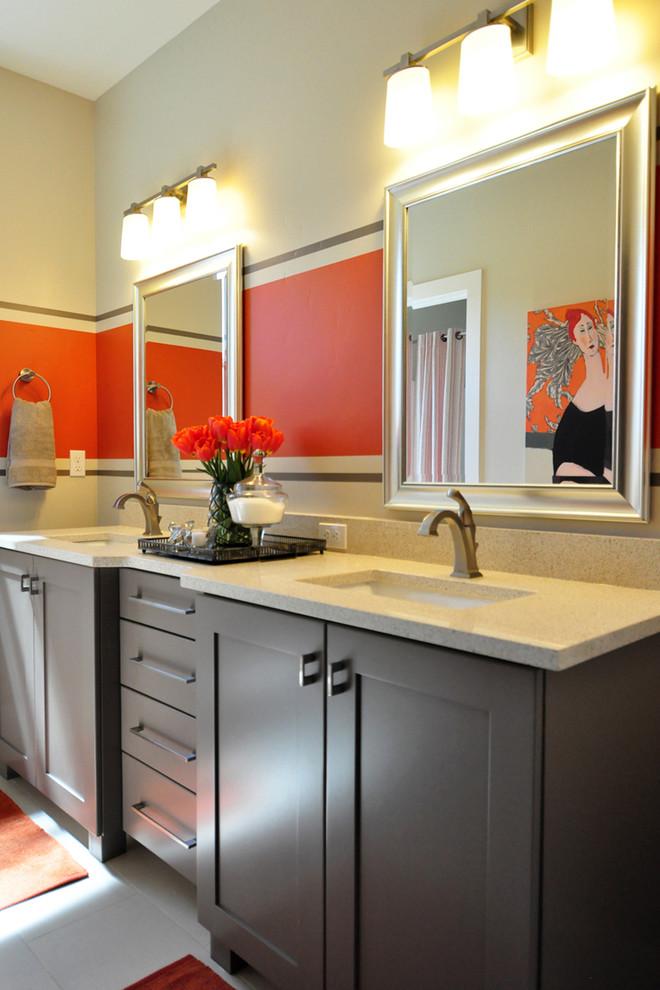 Trendy bathroom photo in Boise