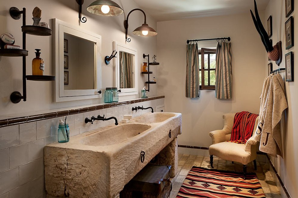 Bathroom - southwestern white tile bathroom idea in Phoenix with an integrated sink