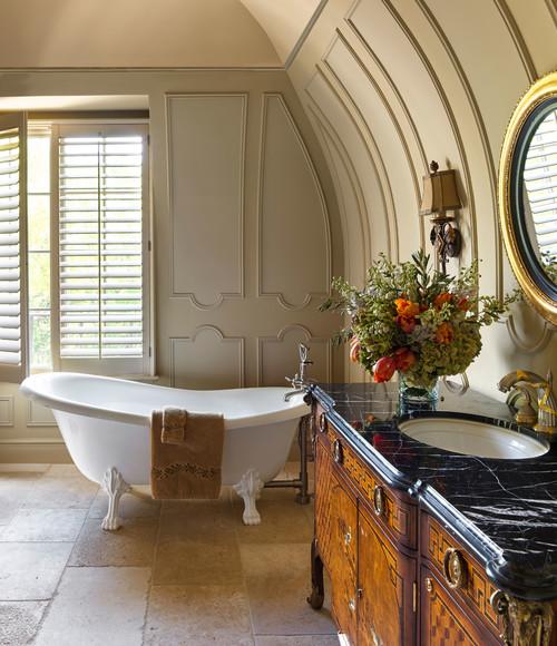 french style bathroom with old fashioned bathtub