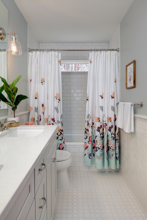 shower curtains with a floral pattern