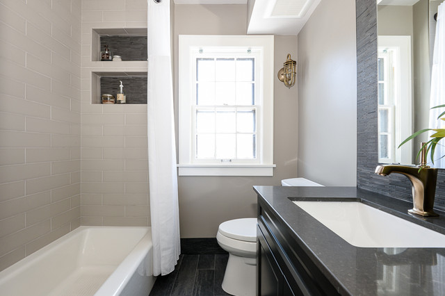 Parkway : Patterned transitional-bathroom
