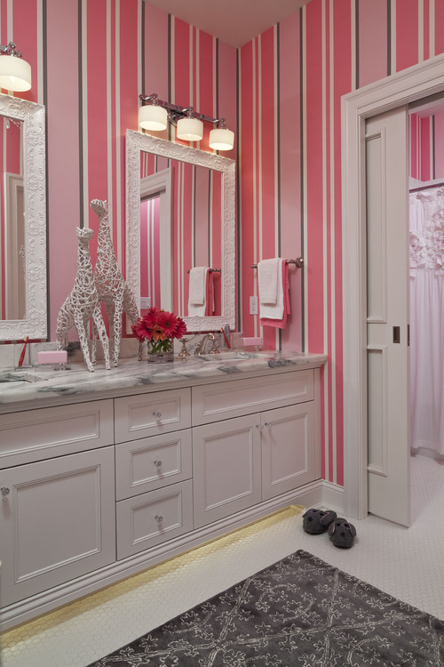 Pretty in Pink contemporary bathroom