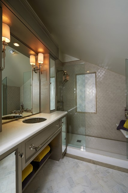 Trendy brown tile alcove shower photo in Los Angeles with an undermount sink and gray cabinets