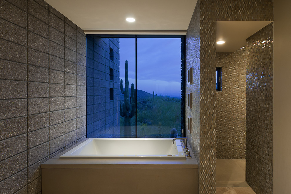 Southwest brown tile and mosaic tile bathroom photo in Phoenix