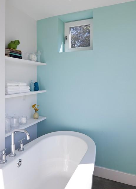 Passive House Retreat farmhouse-bathroom