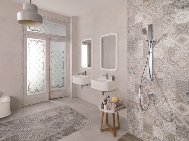 Patterned Feature Tiles Dover Antique Contemporary Bathroom