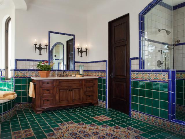 Pebble Beach Spanish Revival Mediterranean Bathroom
