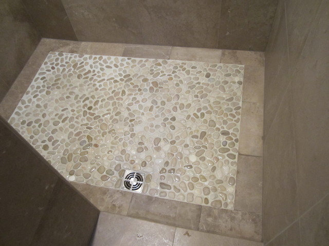 Pebble shower floor contemporary bathroom chicago for Shower room flooring ideas