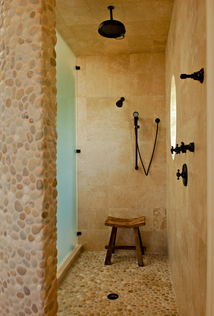 Pebble Texture And Stone Master Shower Tropical