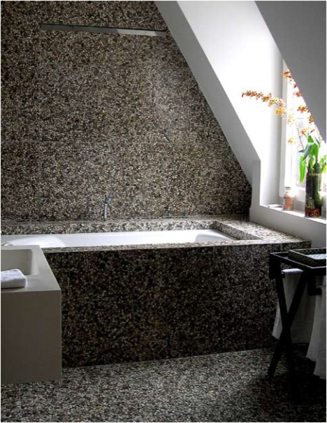 Pebble Tile Bathroom Traditional