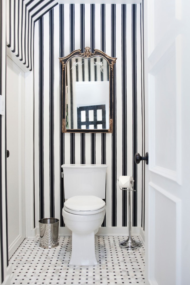 Inspiration for a transitional bathroom remodel in Los Angeles with a two-piece toilet