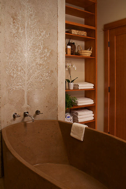 Inspiration for a rustic freestanding bathtub remodel in Seattle