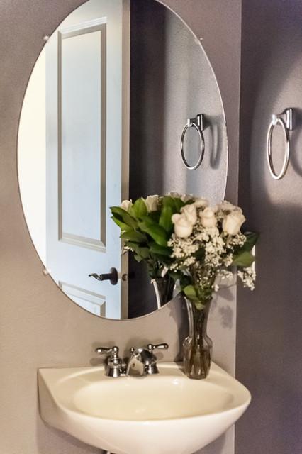 Pedestal Sink And Oval Mirror Bathroom Portland By
