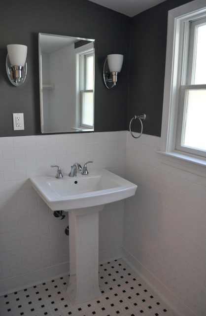Pedestal sink traditional bathroom philadelphia by - Accent color for gray and white bathroom ...