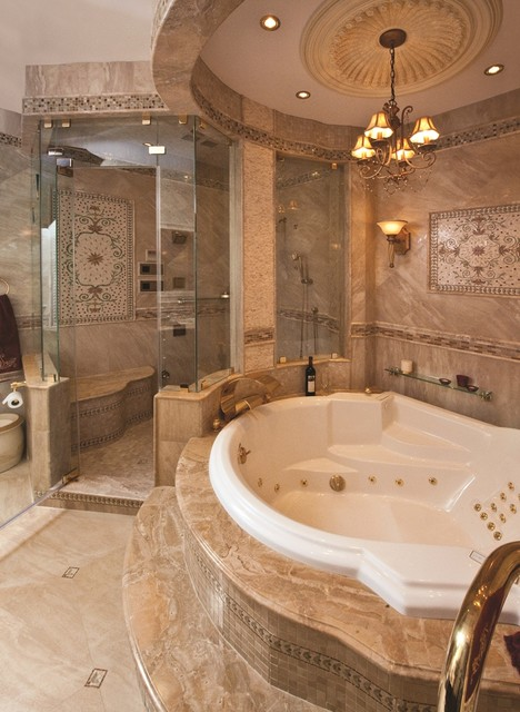 Mid-sized tuscan master mosaic tile and brown tile ceramic floor corner shower photo in New York with a hot tub and beige walls