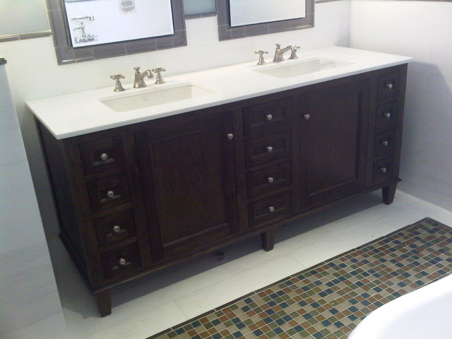 penthouse bathroom vanity with undermount double sink